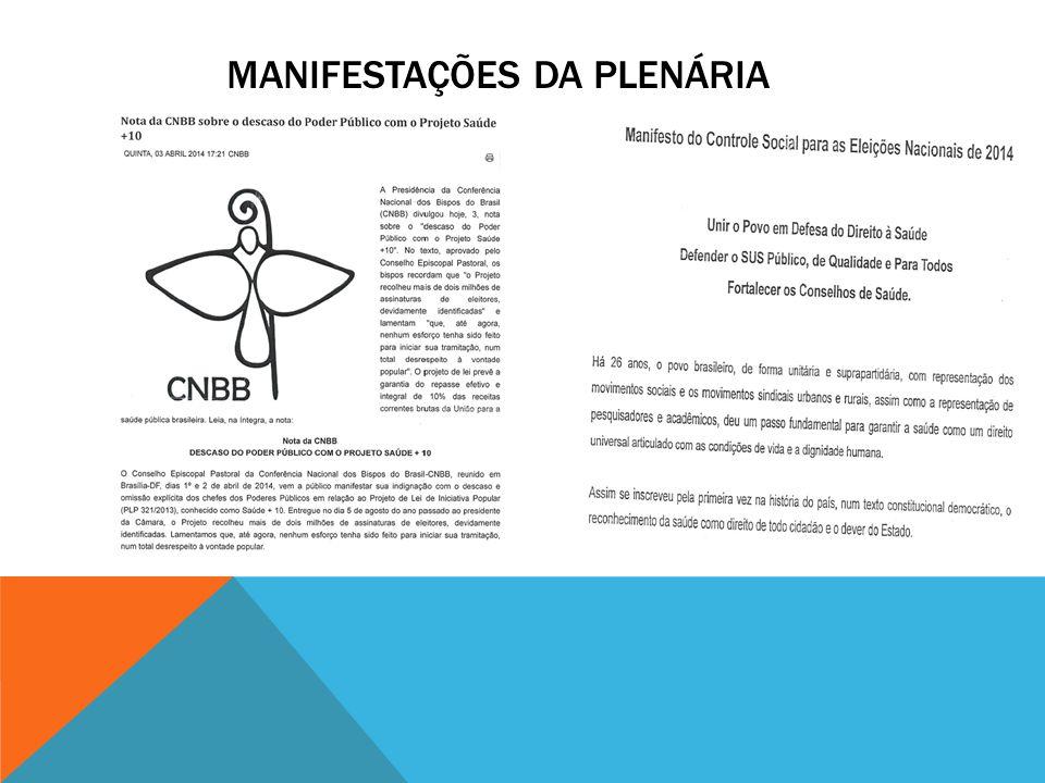 MANIFESTAÇÕES DA PLENÁRIA