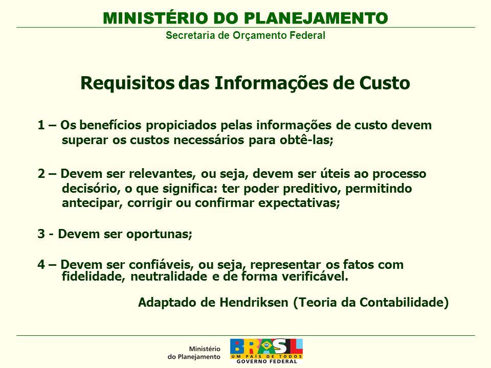 MINISTÉRIO DO PLANEJAMENTO 1 – Os benefícios propiciados pelas informações de custo devem superar os custos necessários para obtê-las; 2 – Devem ser r