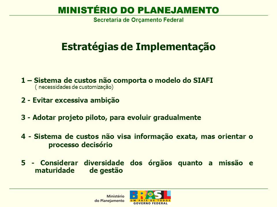 MINISTÉRIO DO PLANEJAMENTO 1 – Sistema de custos não comporta o modelo do SIAFI ( necessidades de customização) 2 - Evitar excessiva ambição 3 - Adota