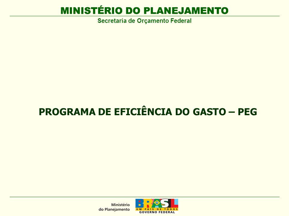MINISTÉRIO DO PLANEJAMENTO PROGRAMA DE EFICIÊNCIA DO GASTO – PEG MINISTÉRIO DO PLANEJAMENTO Secretaria de Orçamento Federal