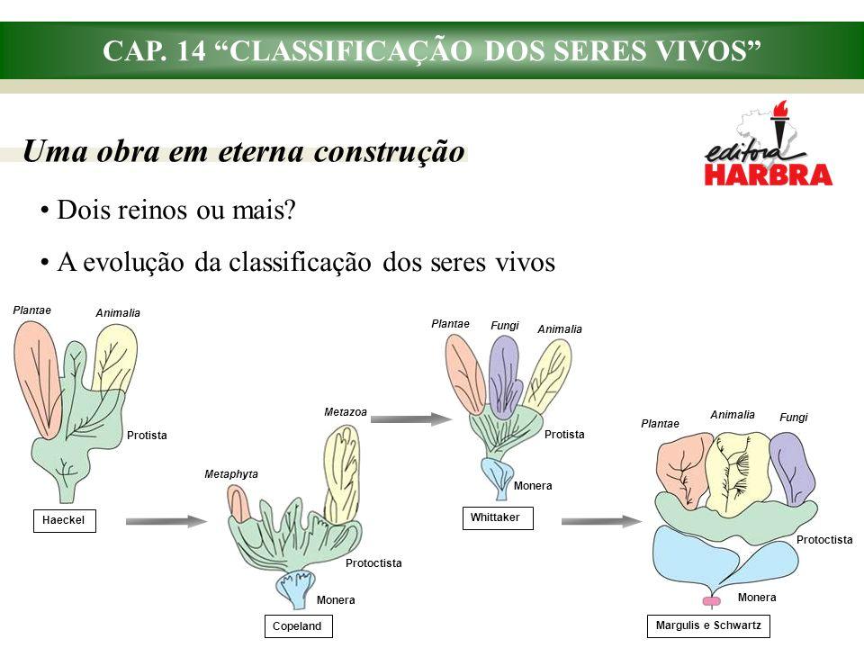 """CAP. 14 """"CLASSIFICAÇÃO DOS SERES VIVOS"""" Dois reinos ou mais? A evolução da classificação dos seres vivos Uma obra em eterna construção Plantae Animali"""