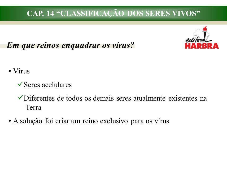 """CAP. 14 """"CLASSIFICAÇÃO DOS SERES VIVOS"""" Em que reinos enquadrar os vírus? Vírus Seres acelulares Diferentes de todos os demais seres atualmente existe"""