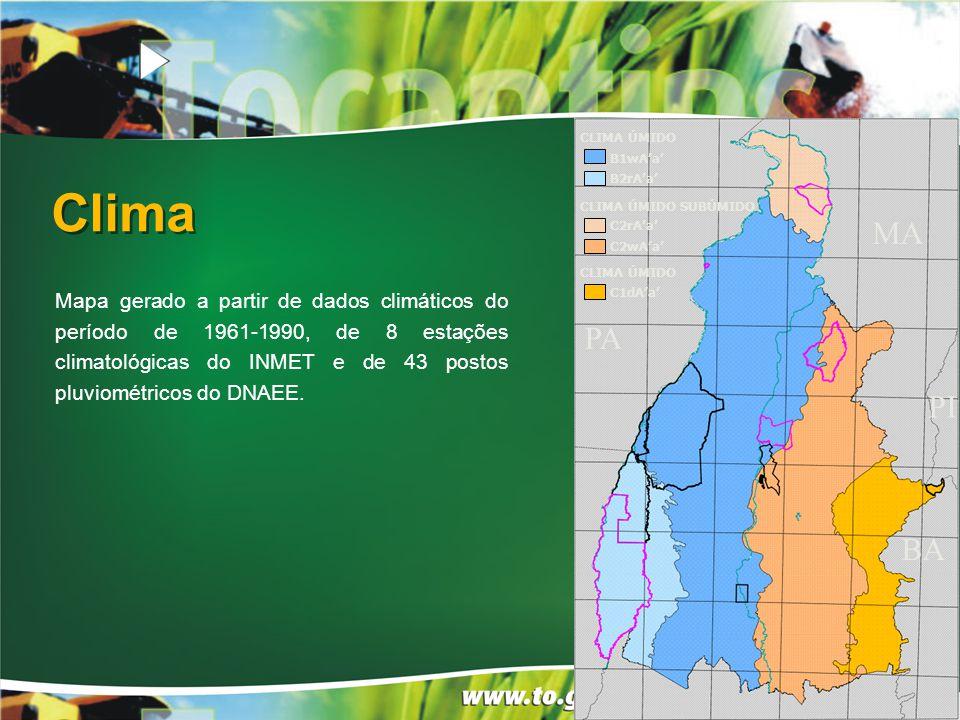 Clima CLIMA ÚMIDO CLIMA ÚMIDO SUBÚMIDO CLIMA ÚMIDO B1wA'a' B2rA'a' C2rA'a' C2wA'a' C1dA'a' PA BA MA PI Mapa gerado a partir de dados climáticos do período de 1961-1990, de 8 estações climatológicas do INMET e de 43 postos pluviométricos do DNAEE.