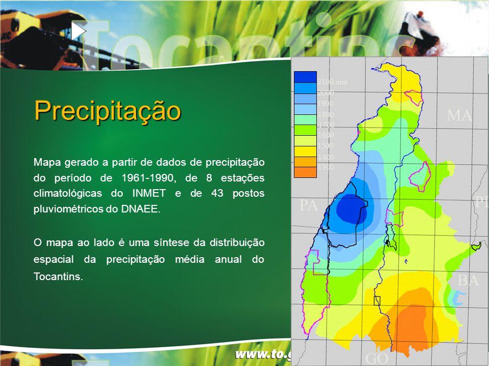 Precipitação 2100 mm 2000 1800 1700 1600 1500 1400 1300 1900 PA GO BA MA PI Mapa gerado a partir de dados de precipitação do período de 1961-1990, de 8 estações climatológicas do INMET e de 43 postos pluviométricos do DNAEE.