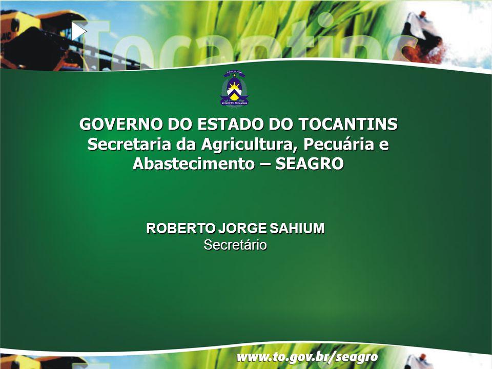 ROBERTO JORGE SAHIUM Secretário GOVERNO DO ESTADO DO TOCANTINS Secretaria da Agricultura, Pecuária e Abastecimento – SEAGRO