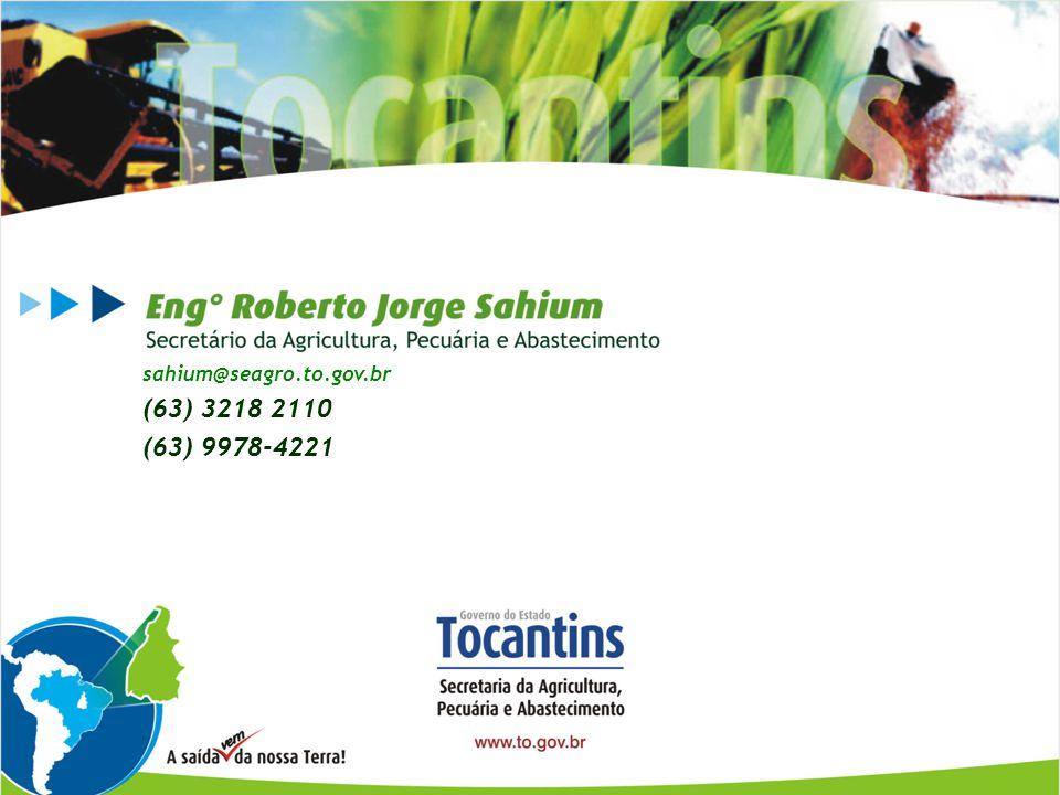Obrigado! sahium@seagro.to.gov.br (63) 3218 2110 (63) 9978-4221