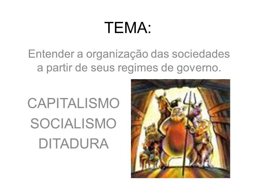 TEMA: Entender a organização das sociedades a partir de seus regimes de governo. CAPITALISMO SOCIALISMO DITADURA