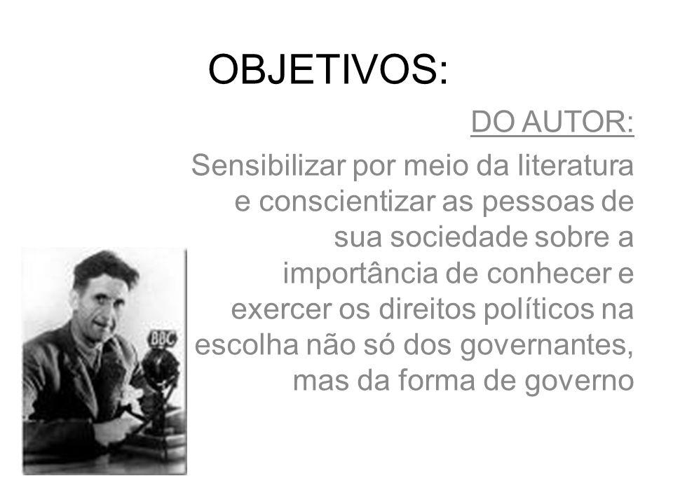 OBJETIVOS: DO AUTOR: Sensibilizar por meio da literatura e conscientizar as pessoas de sua sociedade sobre a importância de conhecer e exercer os direitos políticos na escolha não só dos governantes, mas da forma de governo
