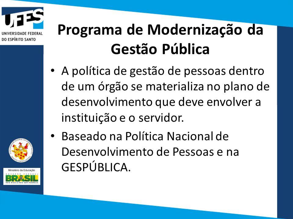 Programa de Modernização da Gestão Pública A política de gestão de pessoas dentro de um órgão se materializa no plano de desenvolvimento que deve envolver a instituição e o servidor.
