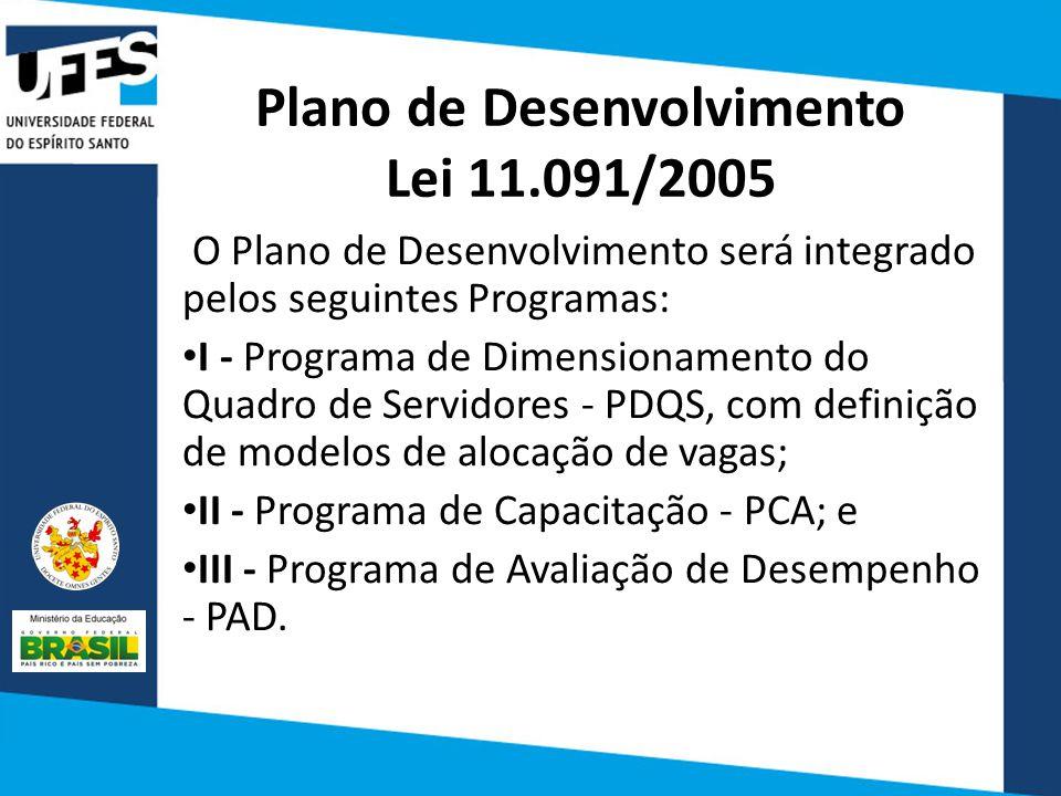 Plano de Desenvolvimento Lei 11.091/2005 O Plano de Desenvolvimento será integrado pelos seguintes Programas: I - Programa de Dimensionamento do Quadro de Servidores - PDQS, com definição de modelos de alocação de vagas; II - Programa de Capacitação - PCA; e III - Programa de Avaliação de Desempenho - PAD.