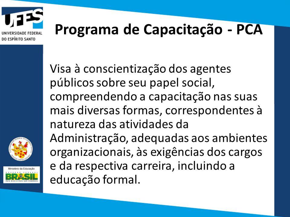 Programa de Capacitação - PCA Visa à conscientização dos agentes públicos sobre seu papel social, compreendendo a capacitação nas suas mais diversas formas, correspondentes à natureza das atividades da Administração, adequadas aos ambientes organizacionais, às exigências dos cargos e da respectiva carreira, incluindo a educação formal.