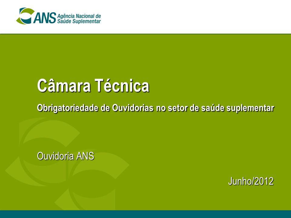 Câmara Técnica Obrigatoriedade de Ouvidorias no setor de saúde suplementar Ouvidoria ANS Junho/2012 Junho/2012