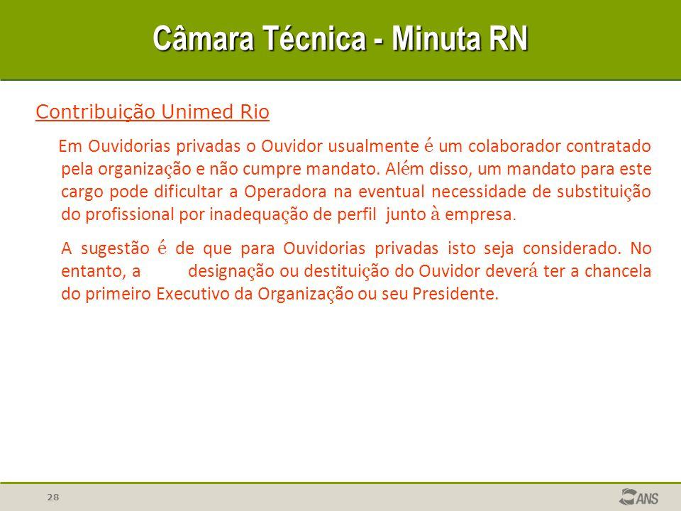 28 Câmara Técnica - Minuta RN Contribuição Unimed Rio Em Ouvidorias privadas o Ouvidor usualmente é um colaborador contratado pela organiza ç ão e não cumpre mandato.