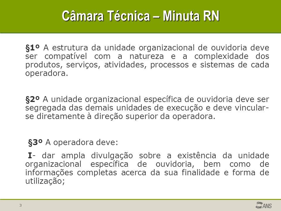 3 Câmara Técnica – Minuta RN §1º A estrutura da unidade organizacional de ouvidoria deve ser compatível com a natureza e a complexidade dos produtos, serviços, atividades, processos e sistemas de cada operadora.