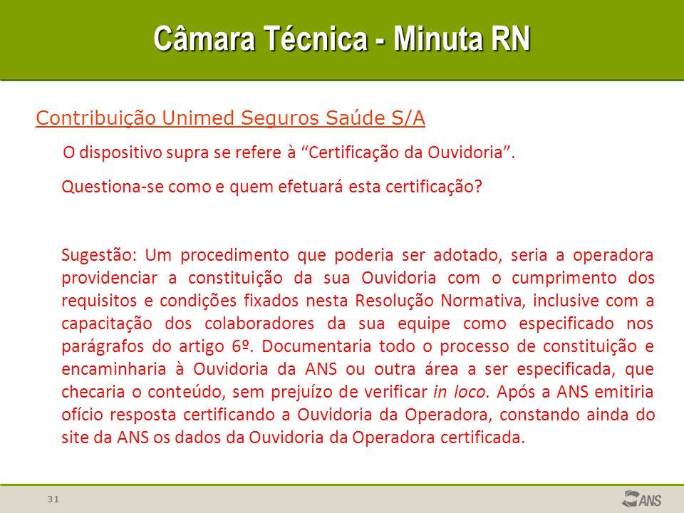 31 Câmara Técnica - Minuta RN Contribuição Unimed Seguros Saúde S/A O dispositivo supra se refere à Certificação da Ouvidoria .