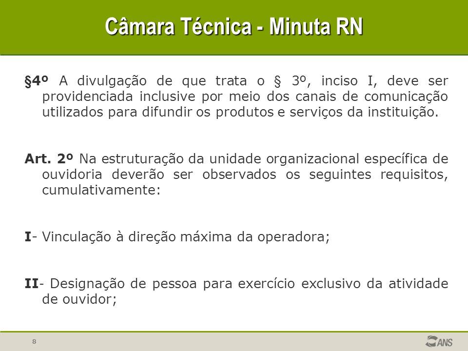 19 Câmara Técnica - Minuta RN X - Apresentação por parte do ouvidor, ao fim de cada exercício anual, de recomendações para melhoria do processo de trabalho da operadora.