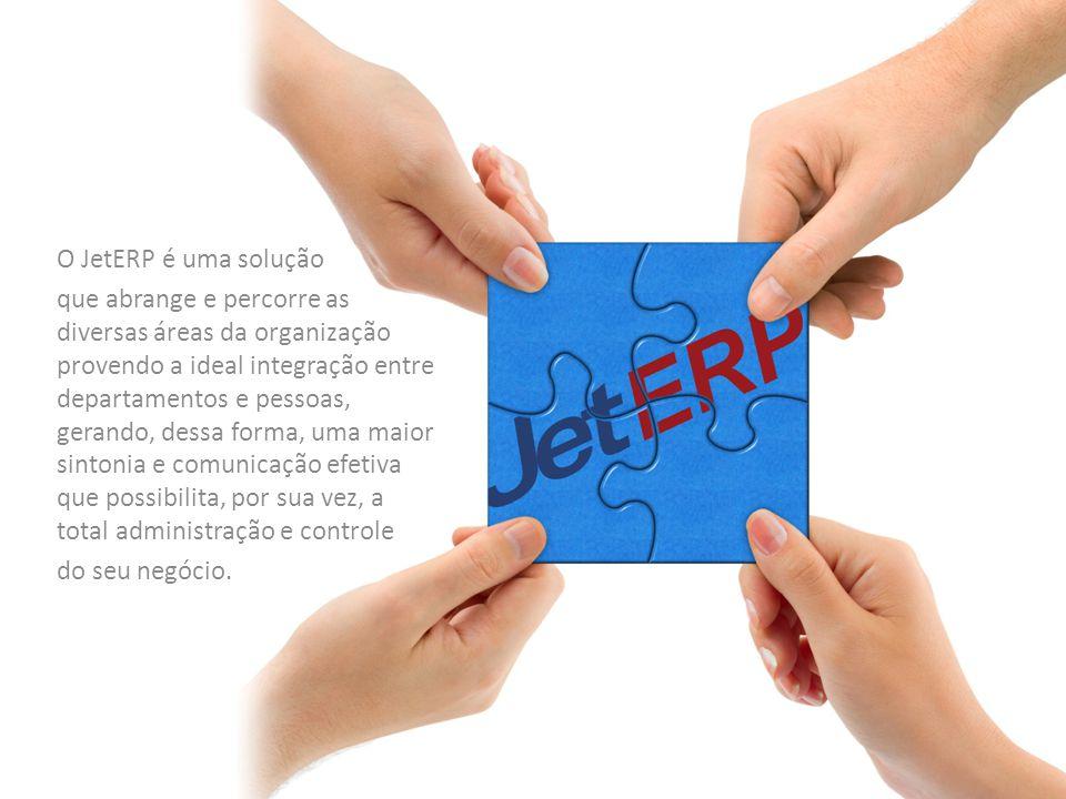 O JetERP é uma solução que abrange e percorre as diversas áreas da organização provendo a ideal integração entre departamentos e pessoas, gerando, dessa forma, uma maior sintonia e comunicação efetiva que possibilita, por sua vez, a total administração e controle do seu negócio.