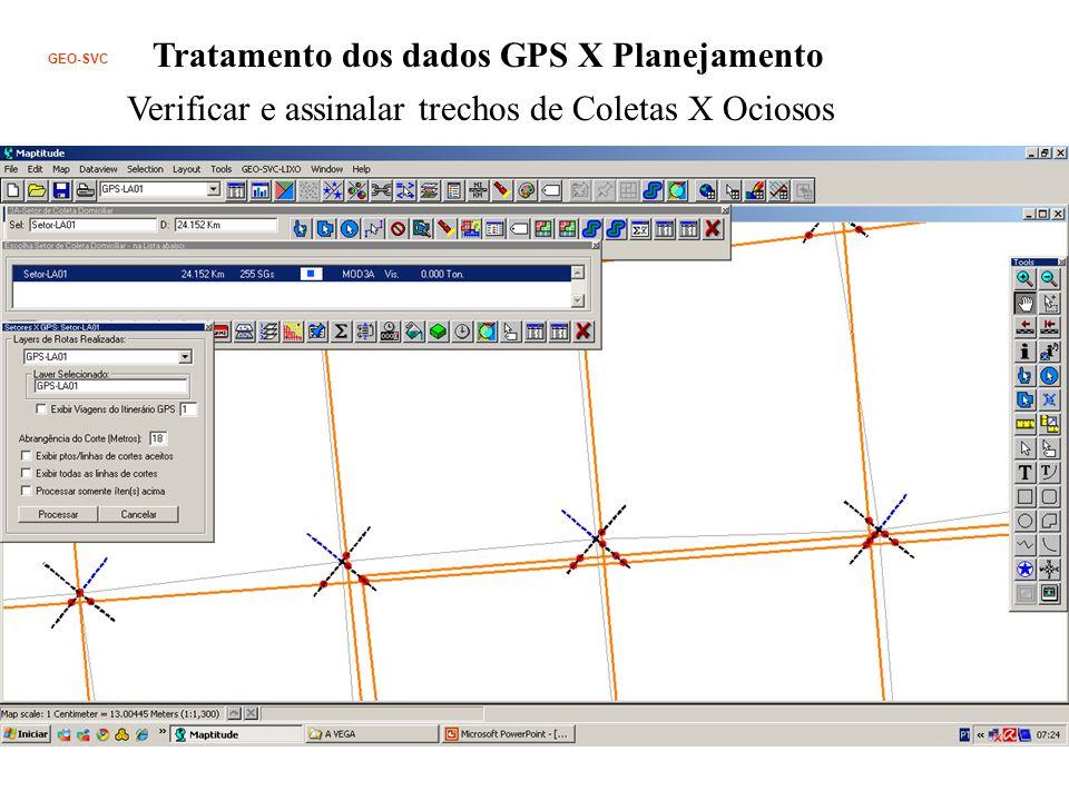 GEO-SVC Tratamento dos dados GPS X Planejamento Verificar e assinalar trechos de Coletas X Ociosos