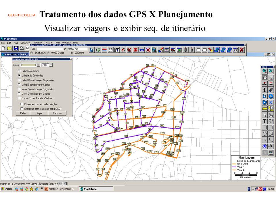 Tratamento dos dados GPS X Planejamento GEO-ITI-COLETA Visualizar viagens e exibir seq.