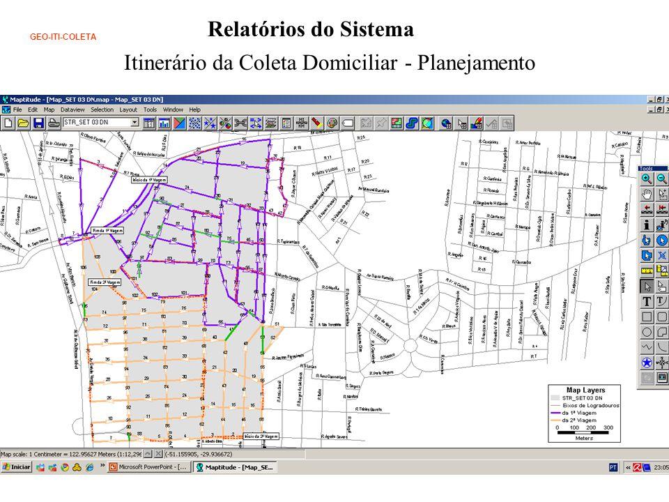 Relatórios do Sistema Itinerário da Coleta Domiciliar - Planejamento GEO-ITI-COLETA