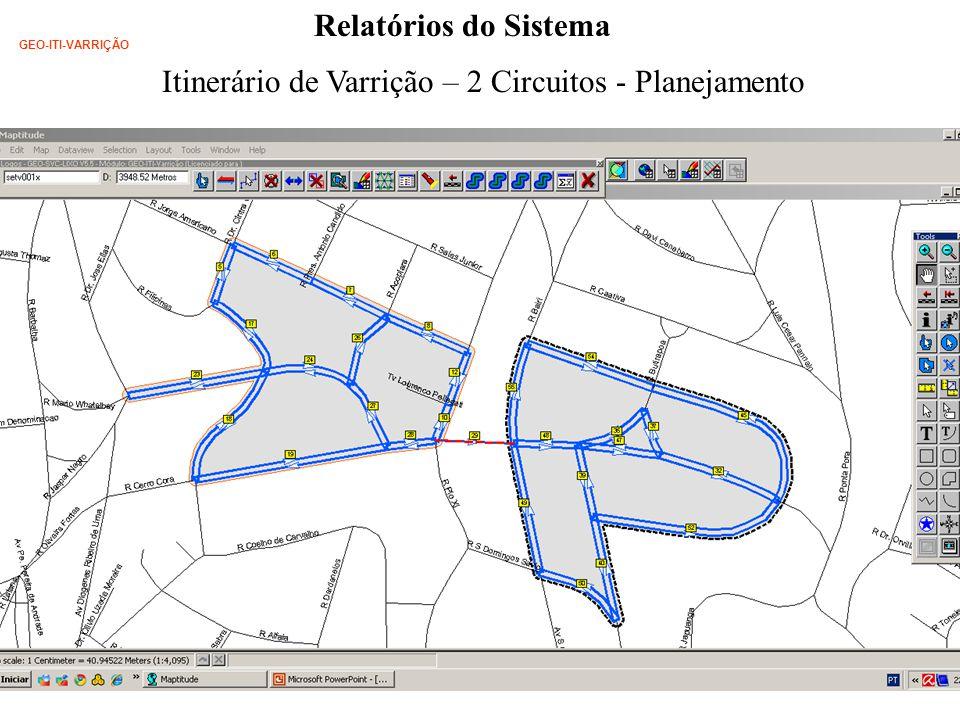 Relatórios do Sistema Itinerário de Varrição – 2 Circuitos - Planejamento GEO-ITI-VARRIÇÃO