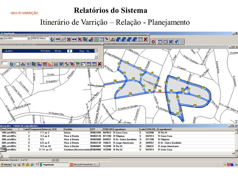 Relatórios do Sistema Itinerário de Varrição – Relação - Planejamento GEO-ITI-VARRIÇÃO