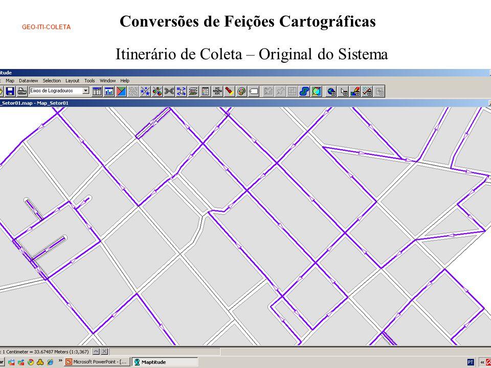 Conversões de Feições Cartográficas GEO-ITI-COLETA Itinerário de Coleta – Original do Sistema