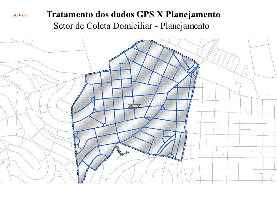 Tratamento dos dados GPS X Planejamento Setor de Coleta Domiciliar - Planejamento GEO-SVC