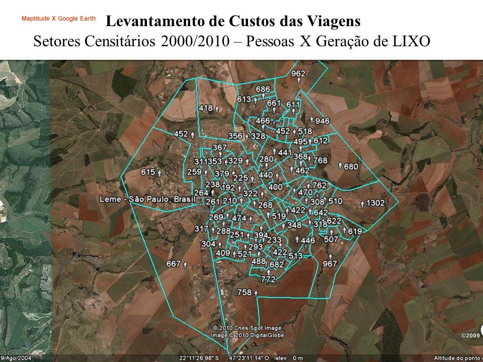 Levantamento de Custos das Viagens Setores Censitários 2000/2010 – Pessoas X Geração de LIXO Maptitude X Google Earth