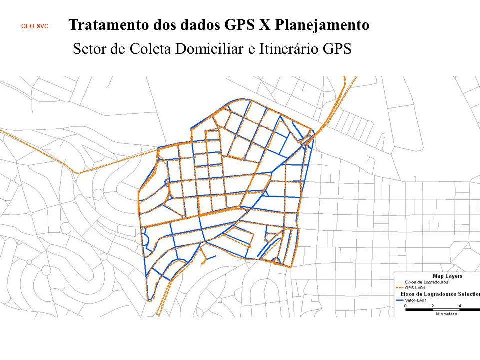 Tratamento dos dados GPS X Planejamento Setor de Coleta Domiciliar e Itinerário GPS GEO-SVC