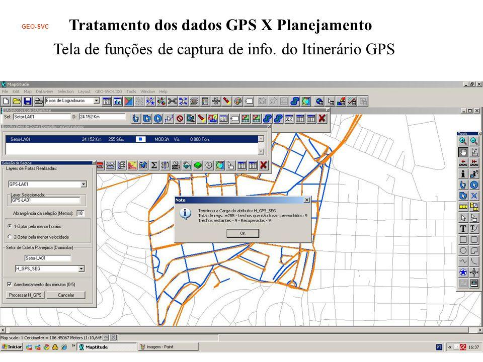 Tratamento dos dados GPS X Planejamento Tela de funções de captura de info.