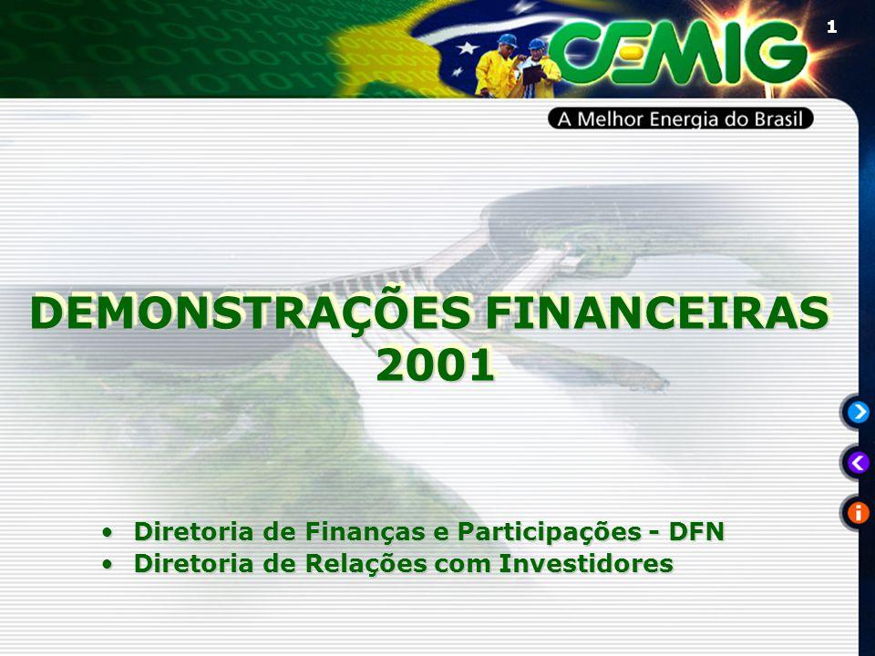 1 DEMONSTRAÇÕES FINANCEIRAS 2001 2001 DEMONSTRAÇÕES FINANCEIRAS 2001 2001 Diretoria de Finanças e Participações - DFNDiretoria de Finanças e Participações - DFN Diretoria de Relações com InvestidoresDiretoria de Relações com Investidores