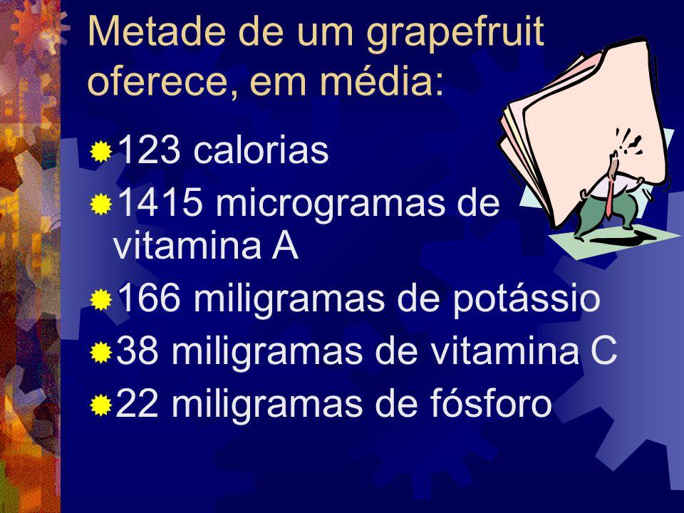 A nutricionista Cynthia Antonaccio, da Equilibrium Consultoria em Nutrição, que fica na capital paulista, também joga suas fichas na fruta: Outros estudos já demonstraram esse poder do grapefruit.