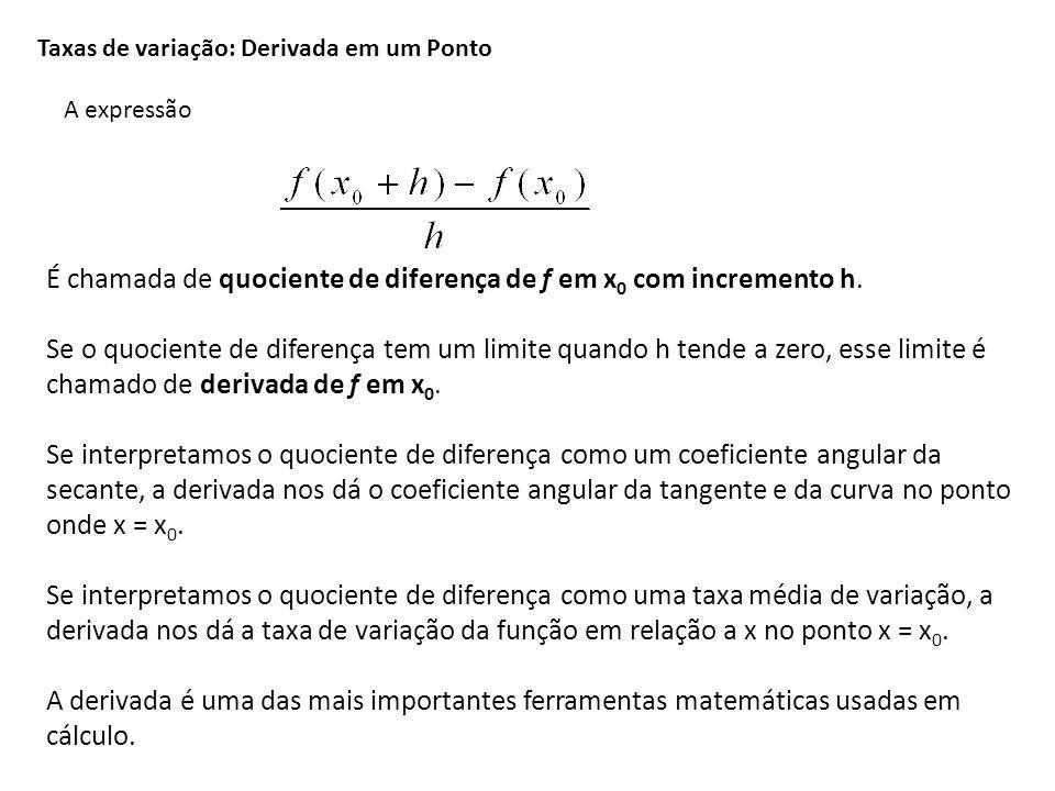 Taxas de variação: Derivada em um Ponto A expressão É chamada de quociente de diferença de f em x 0 com incremento h. Se o quociente de diferença tem
