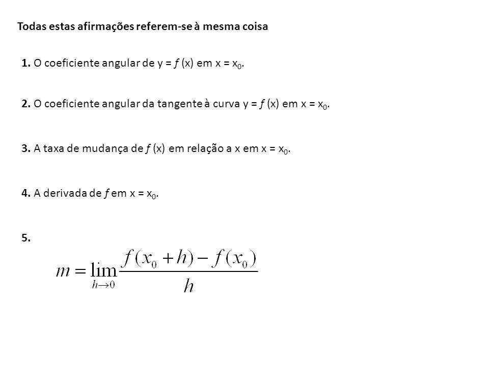 Todas estas afirmações referem-se à mesma coisa 1. O coeficiente angular de y = f (x) em x = x 0. 2. O coeficiente angular da tangente à curva y = f (