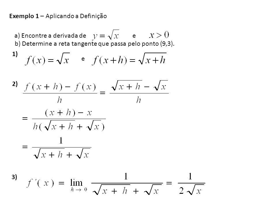 Exemplo 1 – Aplicando a Definição a) Encontre a derivada de e 1) e 2) 3) b) Determine a reta tangente que passa pelo ponto (9,3).