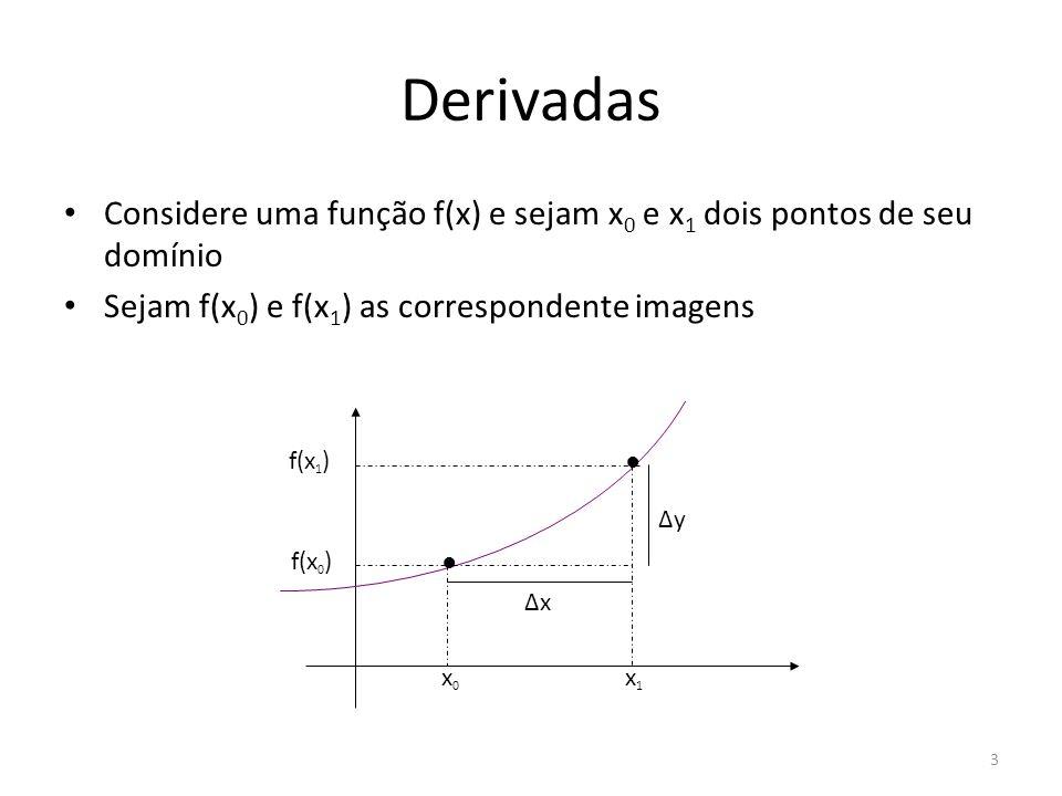 3 Considere uma função f(x) e sejam x 0 e x 1 dois pontos de seu domínio Sejam f(x 0 ) e f(x 1 ) as correspondente imagens x0x0 ΔxΔx ΔyΔy x1x1 f(x 0 )