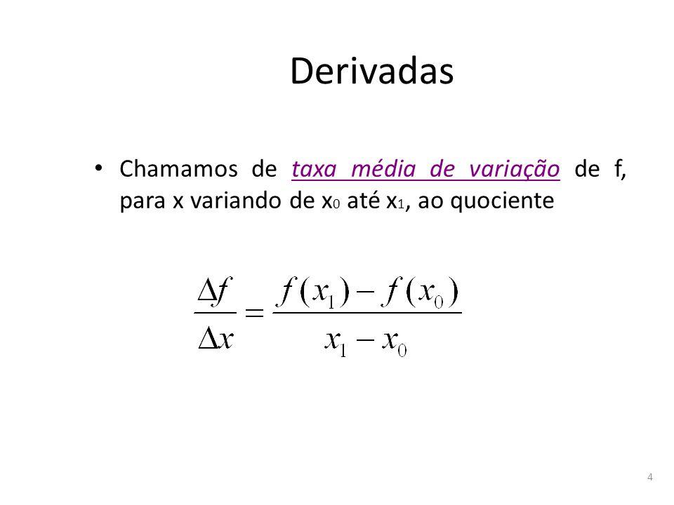5 Exemplo1 Seja a função f(x)=x 2, o ponto inicial de abscissa x 0 =1 e a variação Δx=2 (isto é, x varia de 1 a 3).
