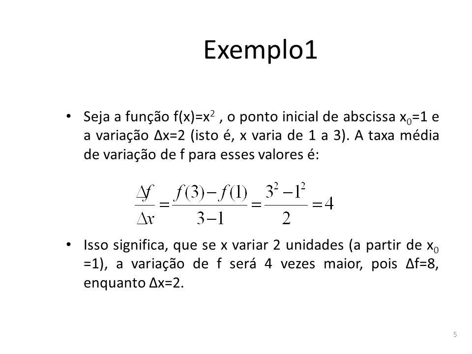 5 Exemplo1 Seja a função f(x)=x 2, o ponto inicial de abscissa x 0 =1 e a variação Δx=2 (isto é, x varia de 1 a 3). A taxa média de variação de f para