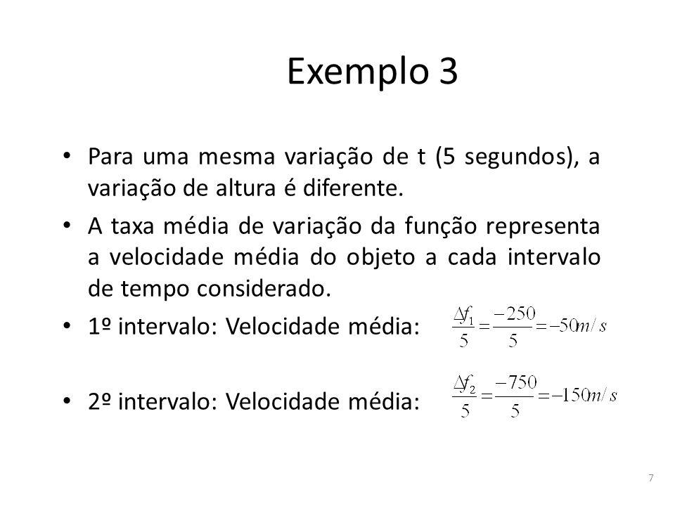 7 Exemplo 3 Para uma mesma variação de t (5 segundos), a variação de altura é diferente. A taxa média de variação da função representa a velocidade mé
