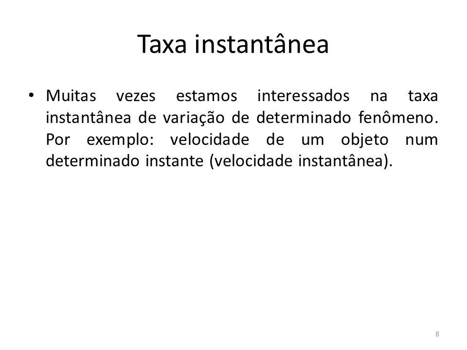 8 Taxa instantânea Muitas vezes estamos interessados na taxa instantânea de variação de determinado fenômeno. Por exemplo: velocidade de um objeto num