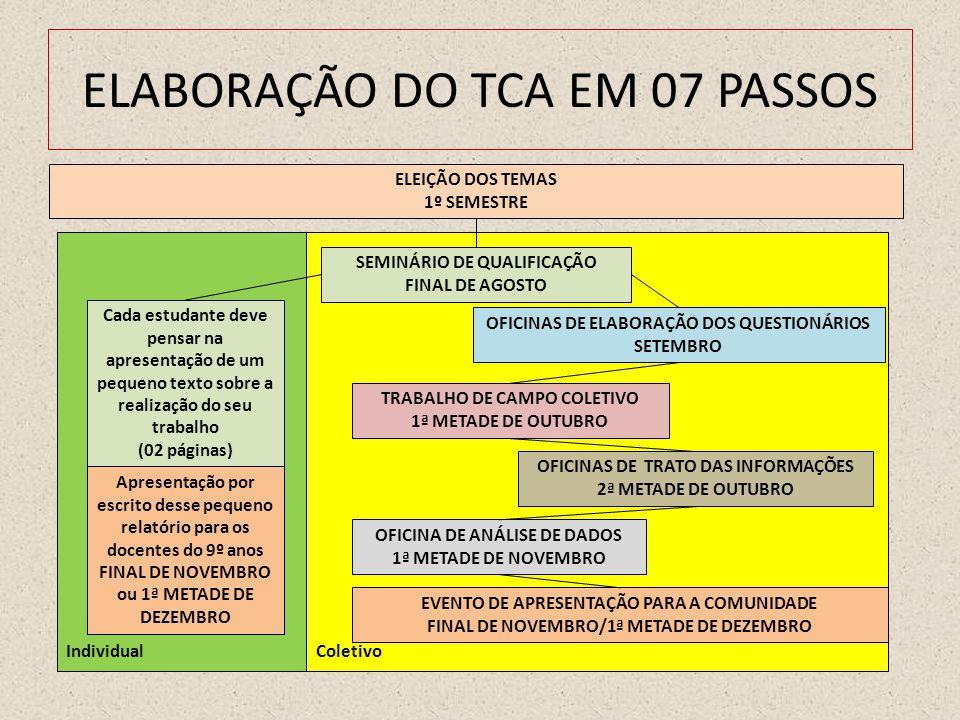 IndividualColetivo ELABORAÇÃO DO TCA EM 07 PASSOS ELEIÇÃO DOS TEMAS 1º SEMESTRE SEMINÁRIO DE QUALIFICAÇÃO FINAL DE AGOSTO TRABALHO DE CAMPO COLETIVO 1