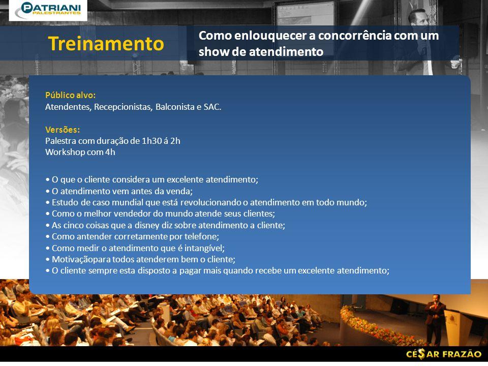 Público alvo: Atendentes, Recepcionistas, Balconista e SAC.