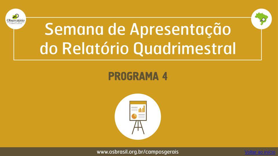 Semana de Apresentação do Relatório Quadrimestral Programa 4 Voltar ao início