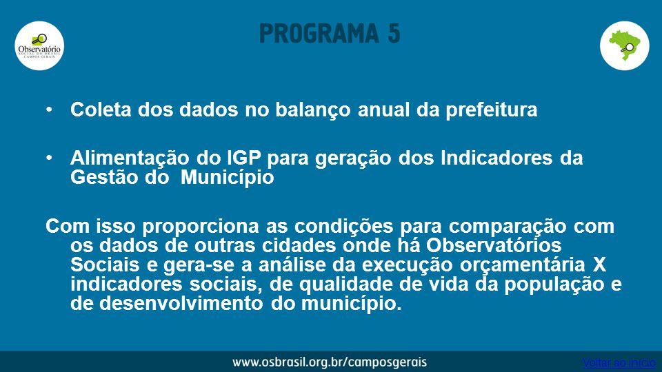 Coleta dos dados no balanço anual da prefeitura Alimentação do IGP para geração dos Indicadores da Gestão do Município Com isso proporciona as condiçõ