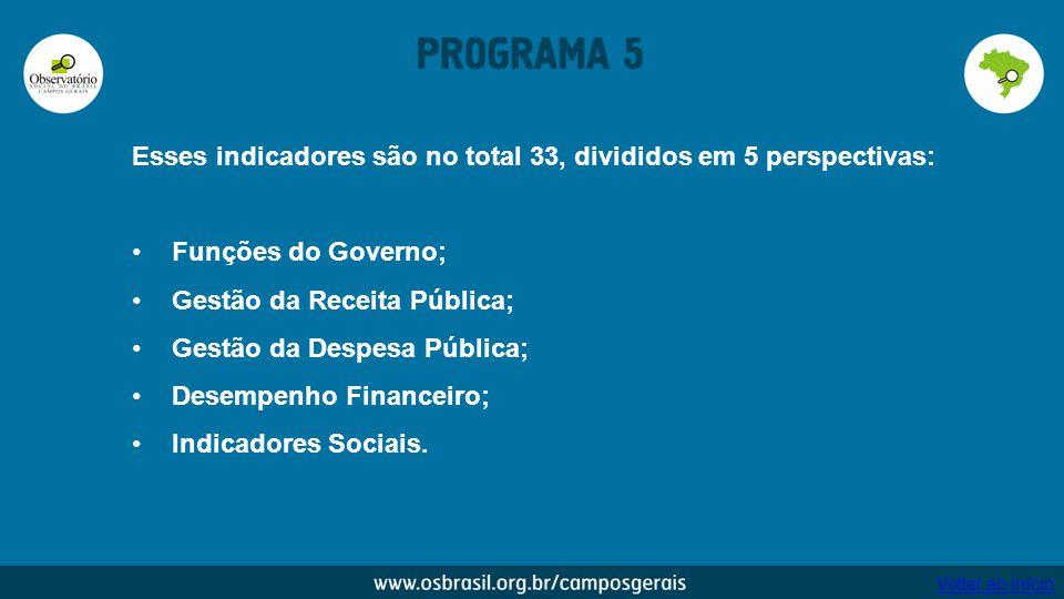 Esses indicadores são no total 33, divididos em 5 perspectivas: Funções do Governo; Gestão da Receita Pública; Gestão da Despesa Pública; Desempenho F