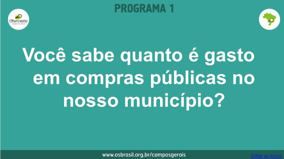 Você sabe quanto é gasto em compras públicas no nosso município? Voltar ao início