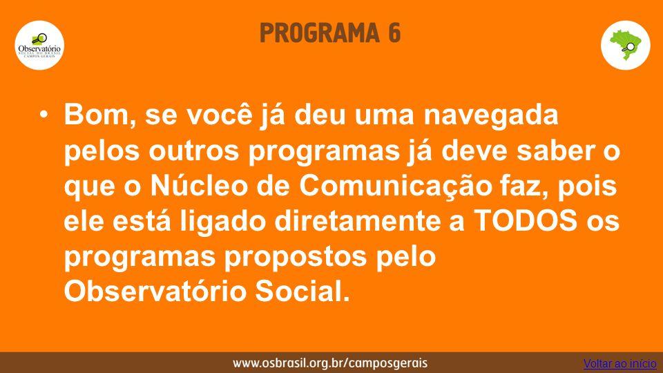 Bom, se você já deu uma navegada pelos outros programas já deve saber o que o Núcleo de Comunicação faz, pois ele está ligado diretamente a TODOS os programas propostos pelo Observatório Social.