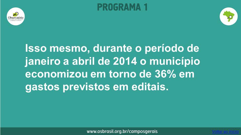 Isso mesmo, durante o período de janeiro a abril de 2014 o município economizou em torno de 36% em gastos previstos em editais. Voltar ao início