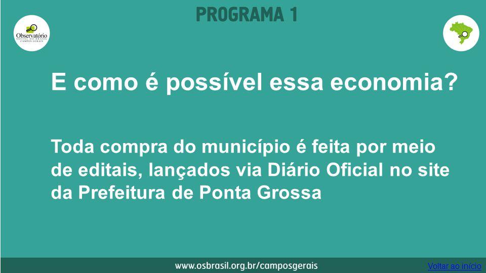 E como é possível essa economia? Toda compra do município é feita por meio de editais, lançados via Diário Oficial no site da Prefeitura de Ponta Gros